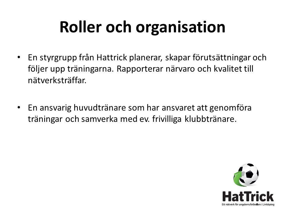 Roller och organisation • En styrgrupp från Hattrick planerar, skapar förutsättningar och följer upp träningarna.