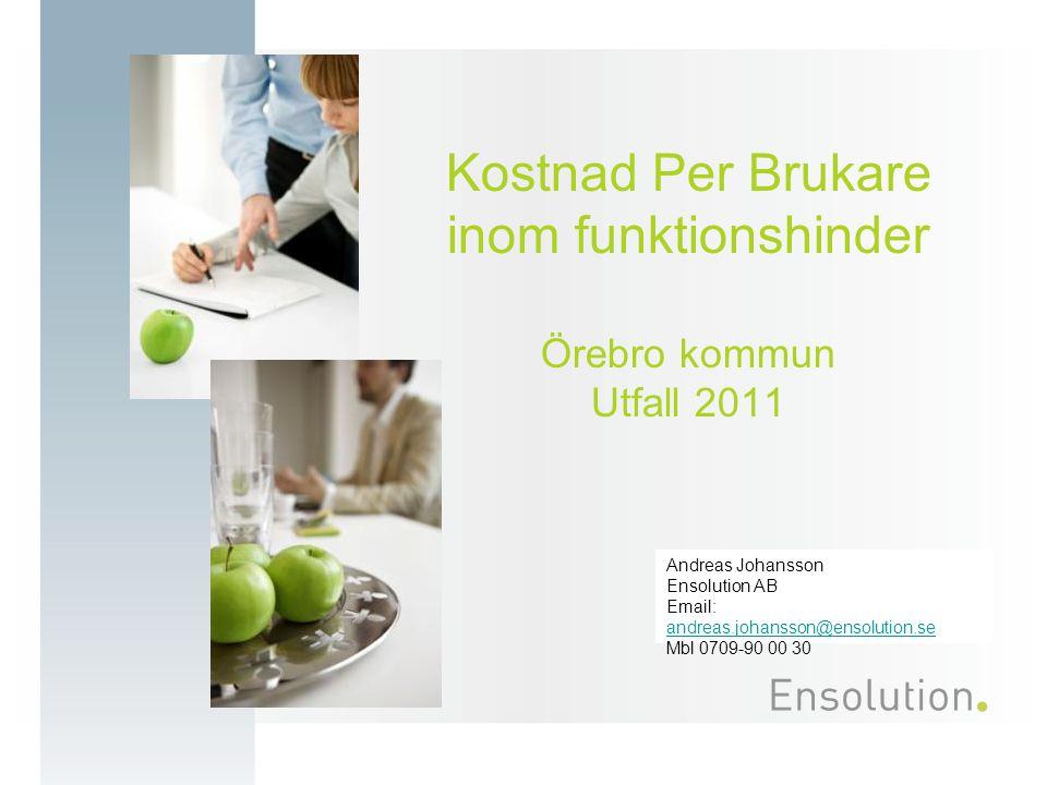 Spridningsdiagram kostnader gruppbostad Extern jämförelse Örebro 2422 kr/dygn