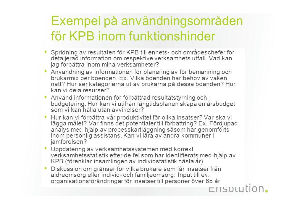 Exempel på användningsområden för KPB inom funktionshinder • Spridning av resultaten för KPB till enhets- och områdeschefer för detaljerad information om respektive verksamhets utfall.