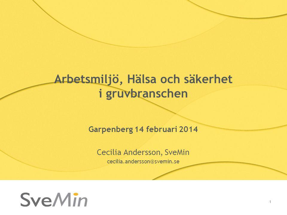 Arbetsmiljö, Hälsa och säkerhet i gruvbranschen Garpenberg 14 februari 2014 Cecilia Andersson, SveMin cecilia.andersson@svemin.se 1
