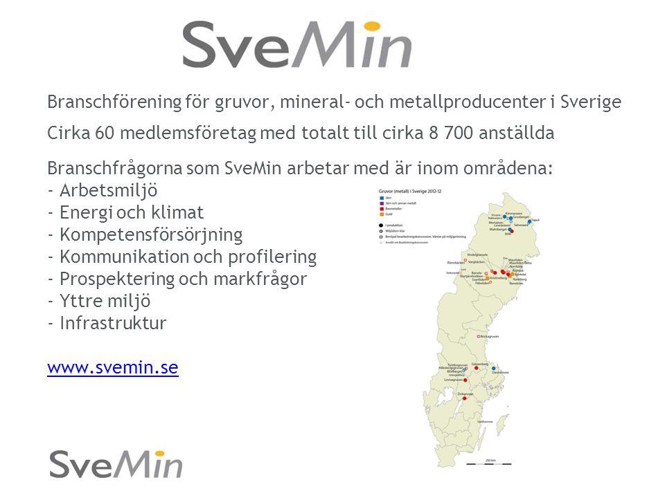 Branschförening för gruvor, mineral- och metallproducenter i Sverige Cirka 60 medlemsföretag med totalt till cirka 8 700 anställda Branschfrågorna som SveMin arbetar med är inom områdena: - Arbetsmiljö - Energi och klimat - Kompetensförsörjning - Kommunikation och profilering - Prospektering och markfrågor - Yttre miljö - Infrastruktur www.svemin.se www.svemin.se