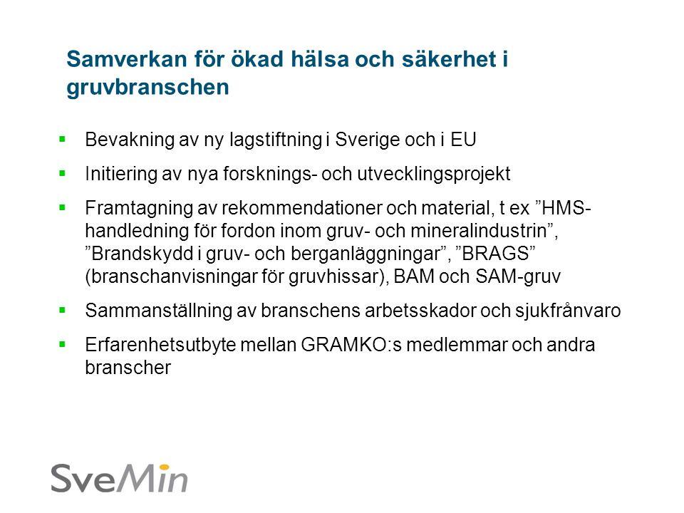  Bevakning av ny lagstiftning i Sverige och i EU  Initiering av nya forsknings- och utvecklingsprojekt  Framtagning av rekommendationer och material, t ex HMS- handledning för fordon inom gruv- och mineralindustrin , Brandskydd i gruv- och berganläggningar , BRAGS (branschanvisningar för gruvhissar), BAM och SAM-gruv  Sammanställning av branschens arbetsskador och sjukfrånvaro  Erfarenhetsutbyte mellan GRAMKO:s medlemmar och andra branscher