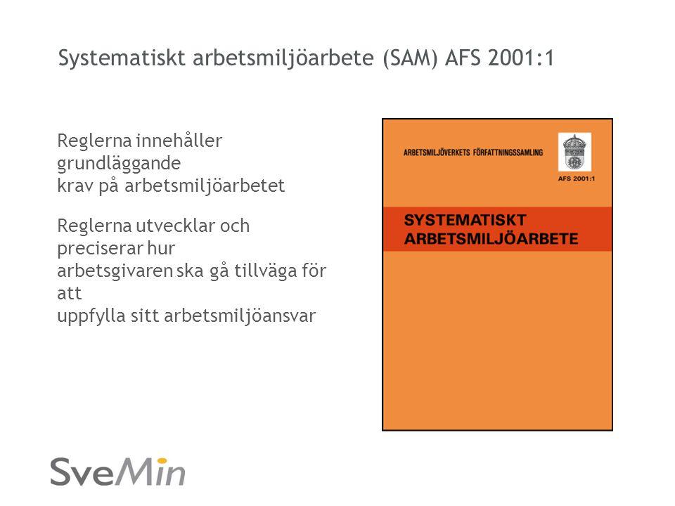 Systematiskt arbetsmiljöarbete (SAM) AFS 2001:1 Reglerna innehåller grundläggande krav på arbetsmiljöarbetet Reglerna utvecklar och preciserar hur arbetsgivaren ska gå tillväga för att uppfylla sitt arbetsmiljöansvar