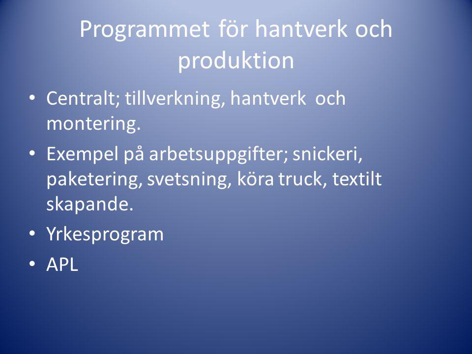 Programmet för hantverk och produktion • Centralt; tillverkning, hantverk och montering. • Exempel på arbetsuppgifter; snickeri, paketering, svetsning