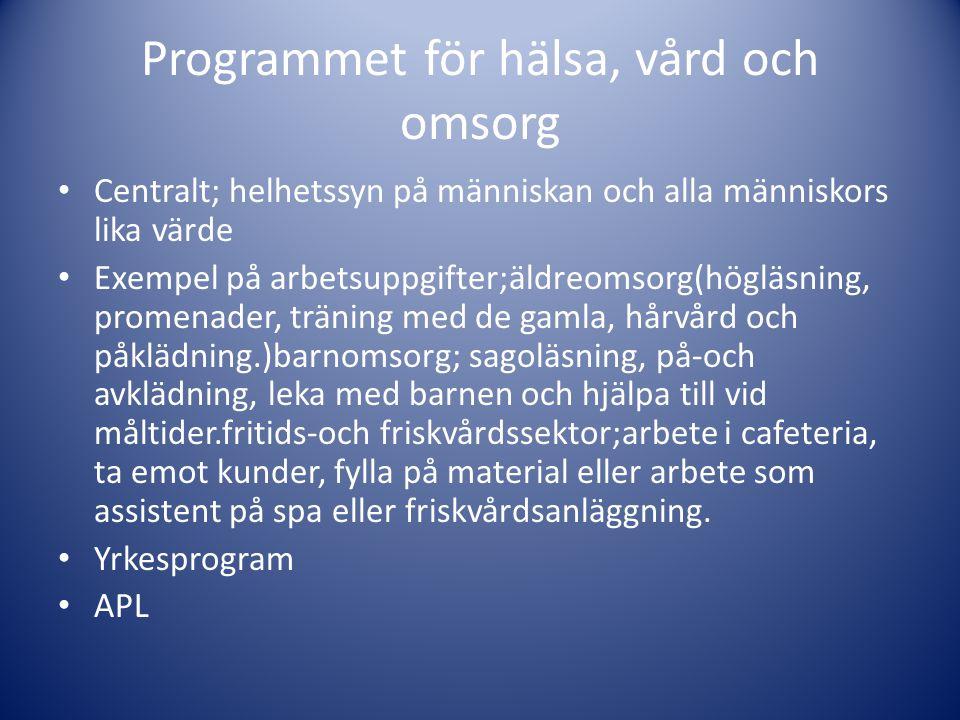 Programmet för samhälle, natur och språk • Centralt; kunskaper om samhälle, individ och natur.
