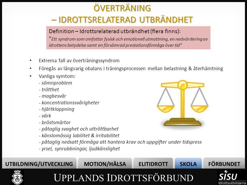 ÖVERTRÄNING – IDROTTSRELATERAD UTBRÄNDHET • Extrema fall av överträningssyndrom • Föregås av långvarig obalans i träningsprocessen mellan belastning &