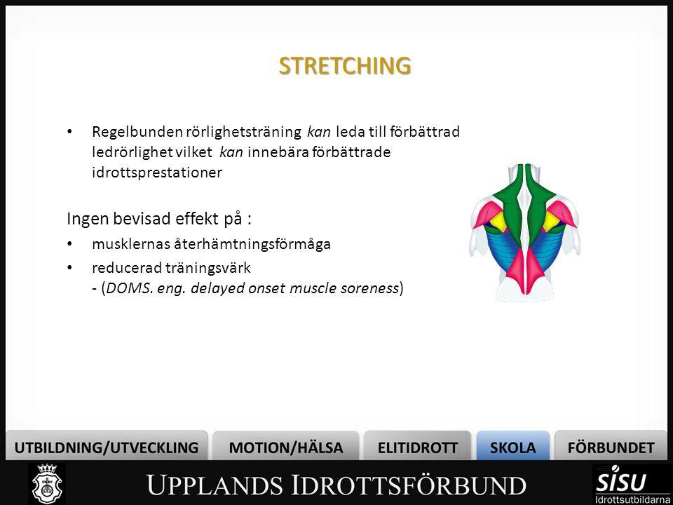 STRETCHING • Regelbunden rörlighetsträning kan leda till förbättrad ledrörlighet vilket kan innebära förbättrade idrottsprestationer Ingen bevisad eff