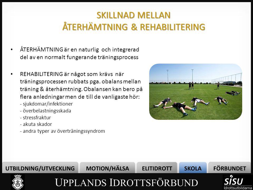 SKILLNAD MELLAN ÅTERHÄMTNING & REHABILITERING • ÅTERHÄMTNING är en naturlig och integrerad del av en normalt fungerande träningsprocess • REHABILITERI