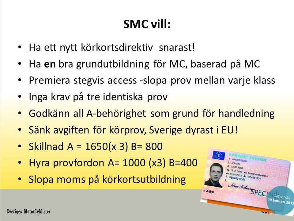 SMC vill: • Ha ett nytt körkortsdirektiv snarast! • Ha en bra grundutbildning för MC, baserad på MC • Premiera stegvis access -slopa prov mellan varje