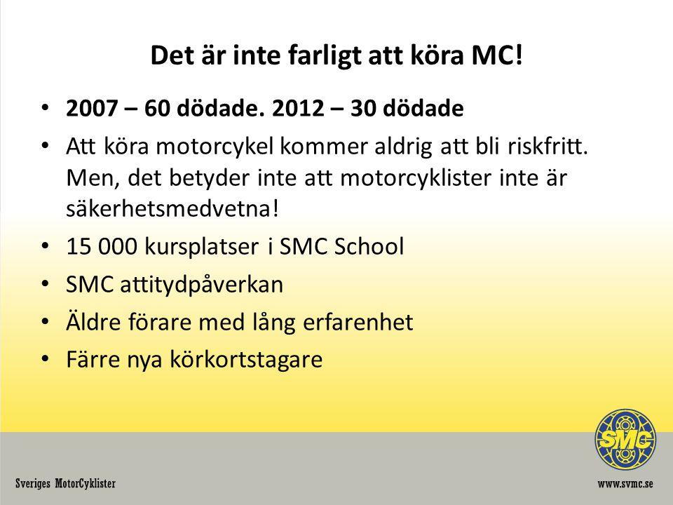 Det är inte farligt att köra MC! • 2007 – 60 dödade. 2012 – 30 dödade • Att köra motorcykel kommer aldrig att bli riskfritt. Men, det betyder inte att