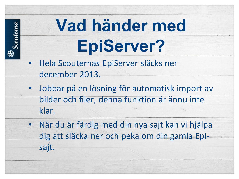 Vad händer med EpiServer.• Hela Scouternas EpiServer släcks ner december 2013.