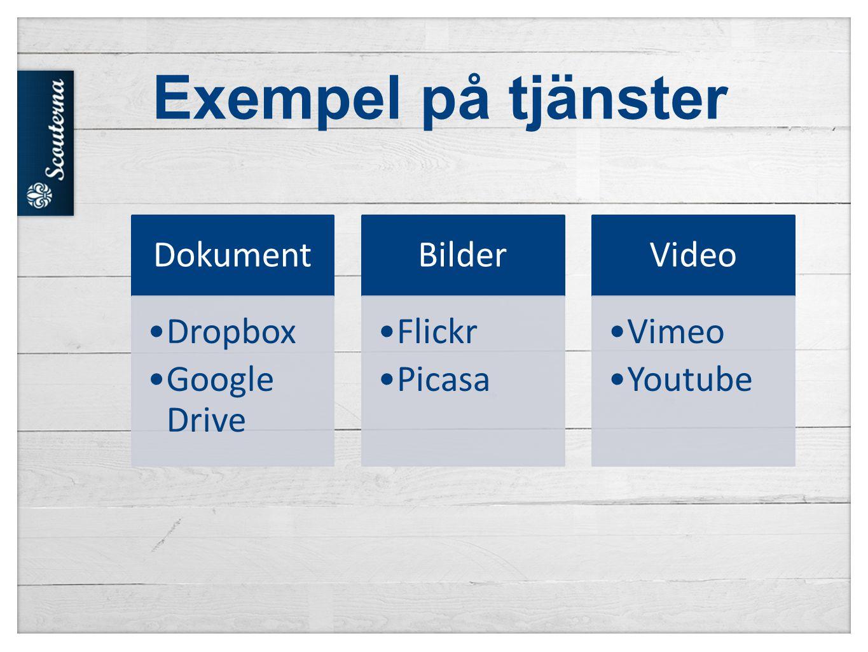 Exempel på tjänster Dokument •Dropbox •Google Drive Bilder •Flickr •Picasa Video •Vimeo •Youtube