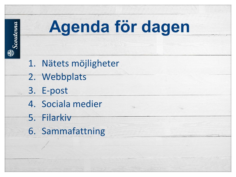 Agenda för dagen 1.Nätets möjligheter 2.Webbplats 3.E-post 4.Sociala medier 5.Filarkiv 6.Sammafattning