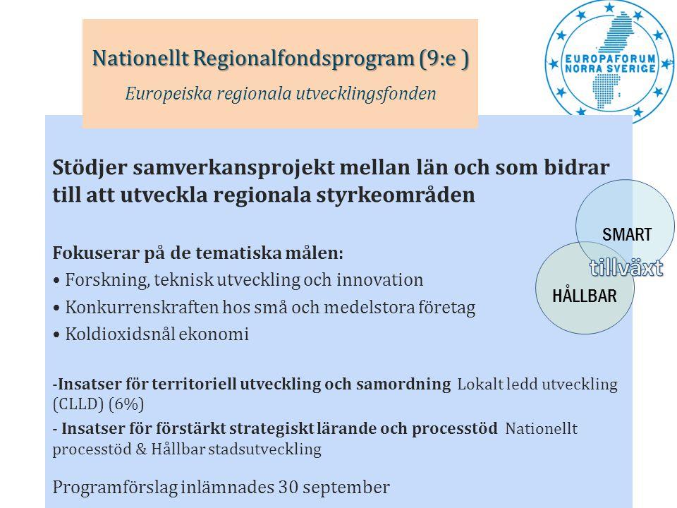 Stödjer samverkansprojekt mellan län och som bidrar till att utveckla regionala styrkeområden Fokuserar på de tematiska målen: • Forskning, teknisk ut