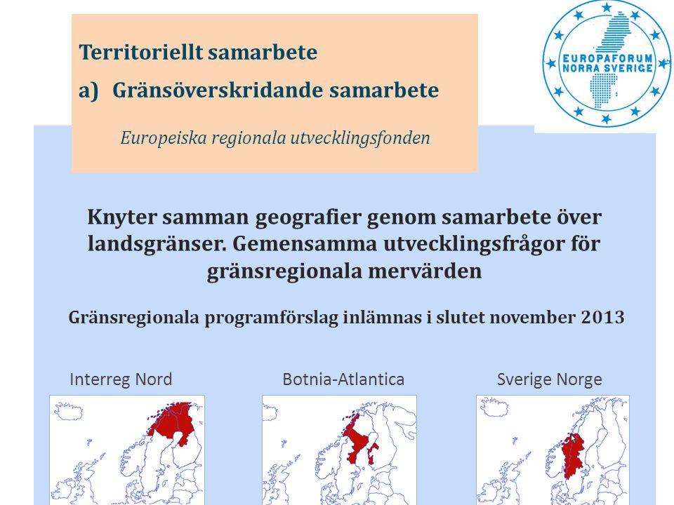 Knyter samman geografier genom samarbete över landsgränser. Gemensamma utvecklingsfrågor för gränsregionala mervärden Gränsregionala programförslag in