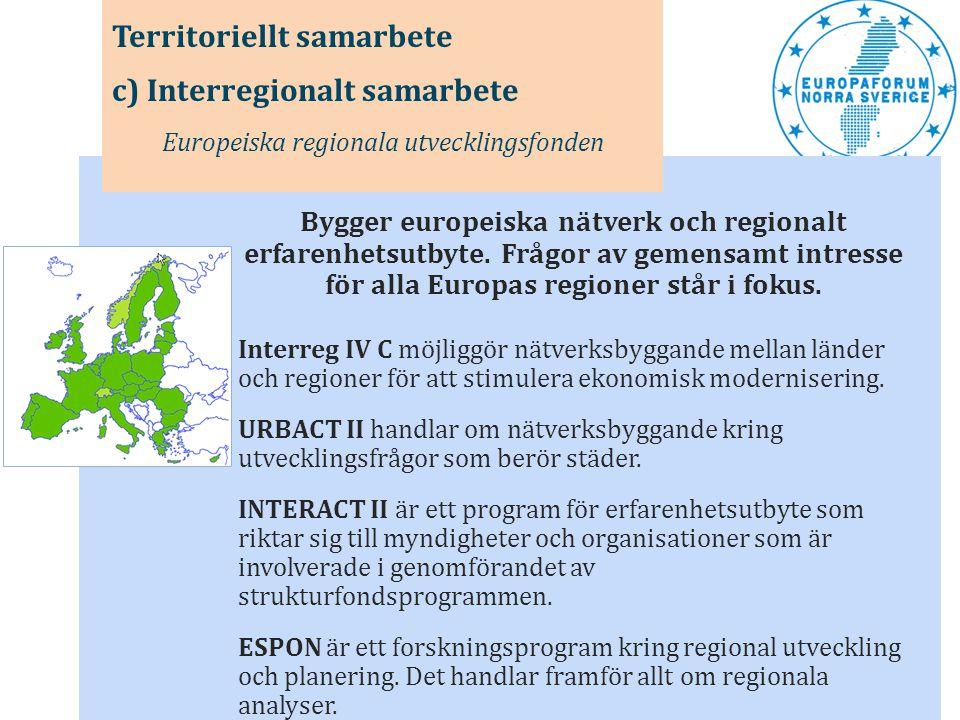 Bygger europeiska nätverk och regionalt erfarenhetsutbyte. Frågor av gemensamt intresse för alla Europas regioner står i fokus. Interreg IV C möjliggö