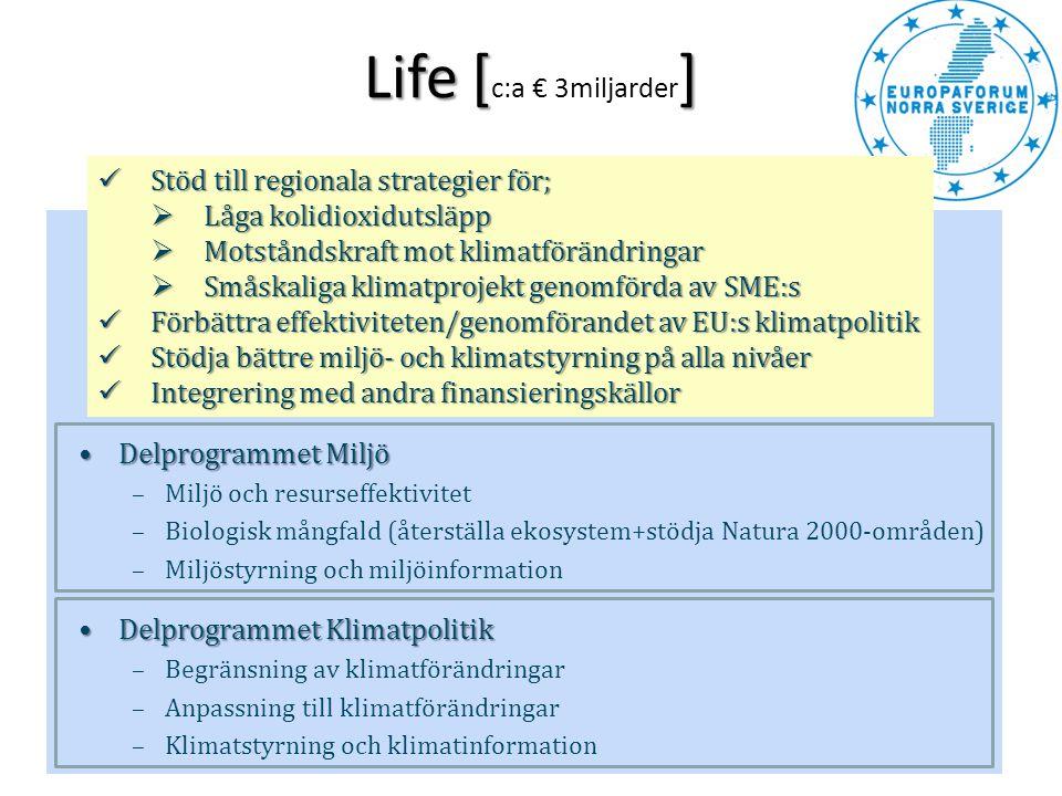 Life [] Life [ c:a € 3miljarder ] •Delprogrammet Miljö –Miljö och resurseffektivitet –Biologisk mångfald (återställa ekosystem+stödja Natura 2000-områ