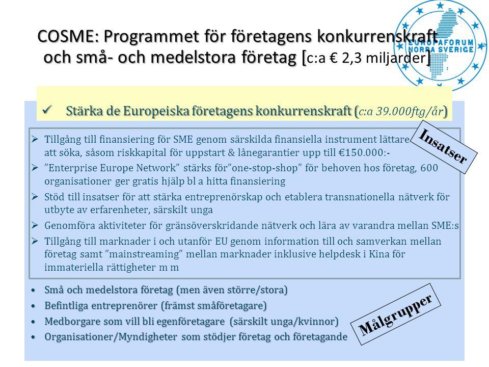 COSME: Programmet för företagens konkurrenskraft och små- och medelstora företag [] COSME: Programmet för företagens konkurrenskraft och små- och mede