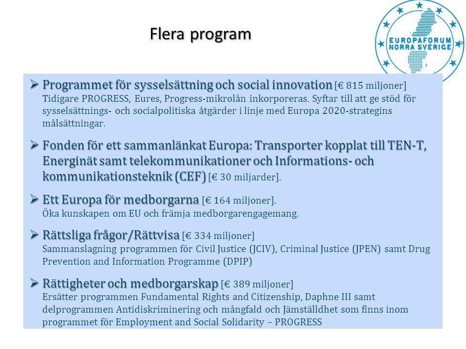  Programmet för sysselsättning och social innovation  Programmet för sysselsättning och social innovation [€ 815 miljoner] Tidigare PROGRESS, Eures,