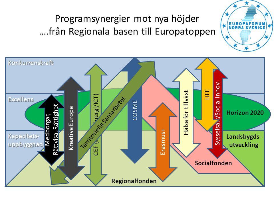 Konkurrenskraft Excellens Kapacitets-uppbyggnad Regionalfonden Landsbygds- utveckling Socialfonden Sysselsätt/Social innov. Hälsa för tillväxt Erasmus