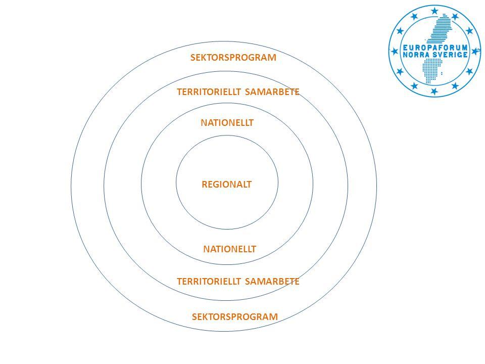REGIONALT TERRITORIELLT SAMARBETE SEKTORSPROGRAM NATIONELLT Regionalfondsprogram ÖN/MN Socialfondsprogram Landsbygdsprogram Havs- & fiskeriprogram Botnia-Atlantica Sverige Norge Nord Northern Periphery and Arctic Östersjöprogrammet Nationellt regionalfondsprogram URBACT II Interreg IV C ESPON INTERACT II Horizon 2020 COSME LIFE Kreativa Europa ERASMUS + Hälsa för tillväxt Connecting Europé Facility Ett Europa för medborgarna