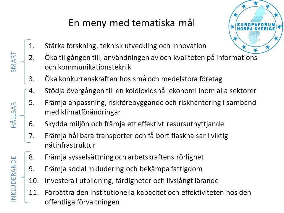 Programmet ska bidra till regional tillväxt och sysselsättning i programområdena Övre Norrland och Mellersta Norrland Fokuserar på de tematiska målen: •Forskning, teknisk utveckling och innovation •Tillgången på, användningen av och kvalitet på IKT •Små och medelstora företags konkurrenskraft •En koldioxidsnål ekonomi •Hållbara transporter och viktig nätinfrastruktur •Utbildning, färdigheter och livslångt lärande (MN) Regionala programförslag inlämnades 30 september – klart sommaren 2014 Regionalt strukturfondsprogram Europeiska regionala utvecklingsfonden SMART HÅLLBAR