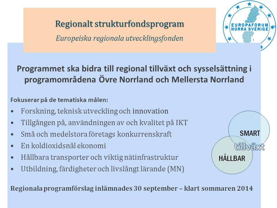 Fokuserar på de tematiska målen: •Främja sysselsättning och arbetskraftens rörlighet •Främja social inkludering och bekämpa fattigdom •Investera i utbildning, färdigheter och livslångt lärande Nationellt programförslag tas fram av AMD Klart kring årsskiftet 2013/2014 Regionala handlingsplaner för Övre Norrland respektive Mellersta Norrland Europeiska Socialfondsprogrammet Europeiska socialfonden INKLUDERANDE