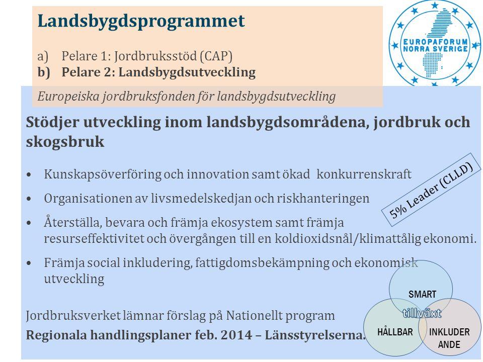 Stödjer samverkansprojekt mellan län och som bidrar till att utveckla regionala styrkeområden Fokuserar på de tematiska målen: • Forskning, teknisk utveckling och innovation • Konkurrenskraften hos små och medelstora företag • Koldioxidsnål ekonomi -Insatser för territoriell utveckling och samordning Lokalt ledd utveckling (CLLD) (6%) - Insatser för förstärkt strategiskt lärande och processtöd Nationellt processtöd & Hållbar stadsutveckling Programförslag inlämnades 30 september Nationellt Regionalfondsprogram (9:e ) Europeiska regionala utvecklingsfonden SMART HÅLLBAR