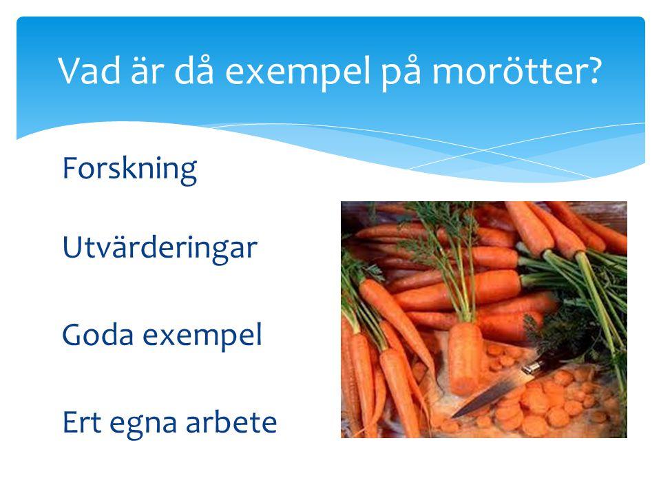 Forskning Utvärderingar Goda exempel Ert egna arbete Vad är då exempel på morötter?