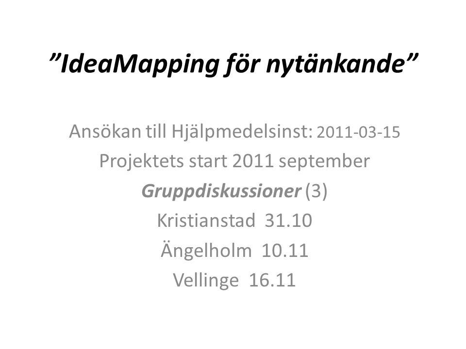 IdeaMapping för nytänkande Ansökan till Hjälpmedelsinst: 2011-03-15 Projektets start 2011 september Gruppdiskussioner (3) Kristianstad 31.10 Ängelholm 10.11 Vellinge 16.11