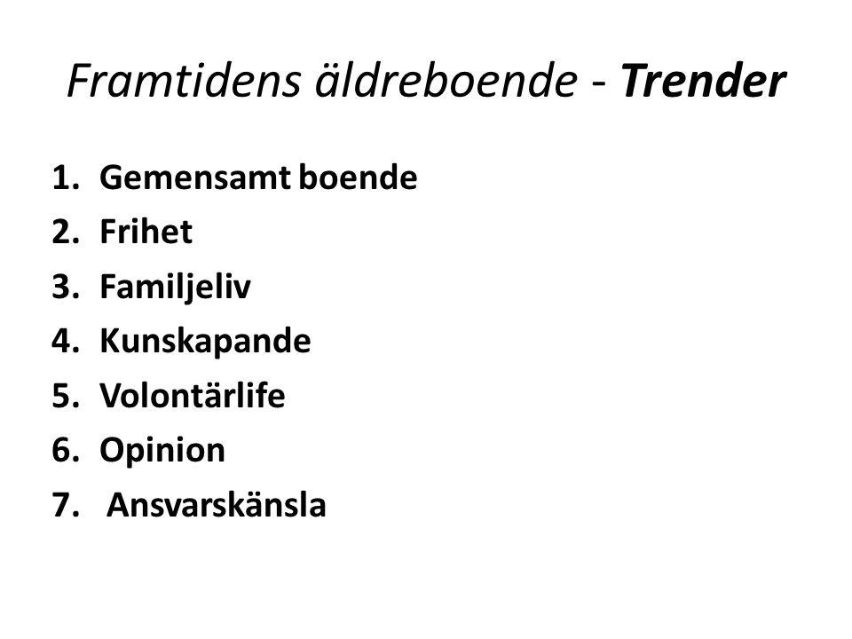 Framtidens äldreboende - Trender 1.Gemensamt boende 2.Frihet 3.Familjeliv 4.Kunskapande 5.Volontärlife 6.Opinion 7.