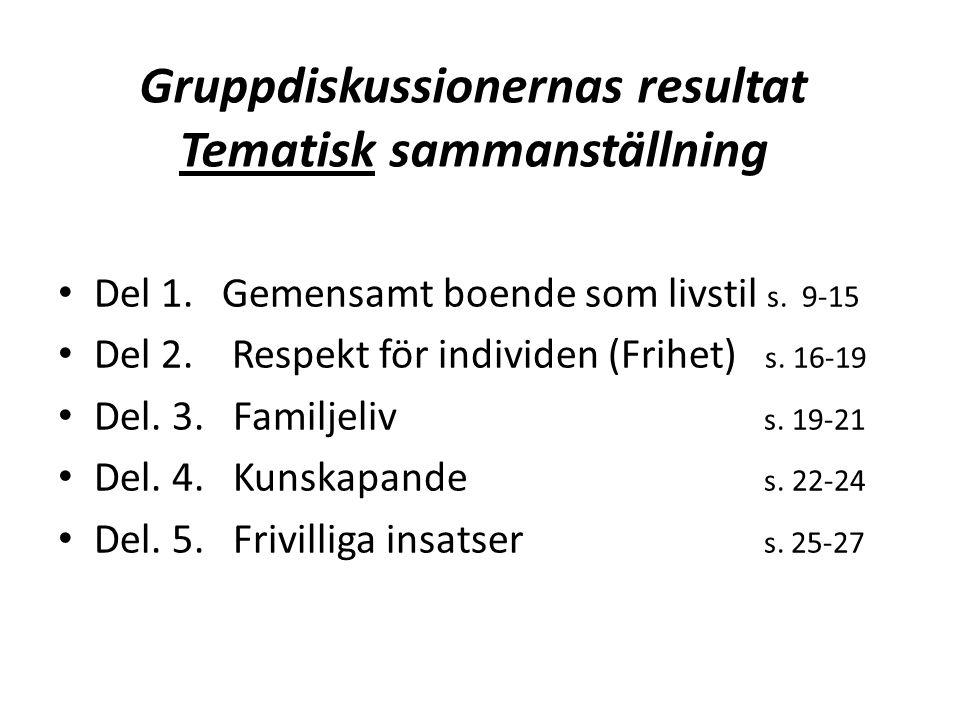Gruppdiskussionernas resultat Tematisk sammanställning • Del 1.