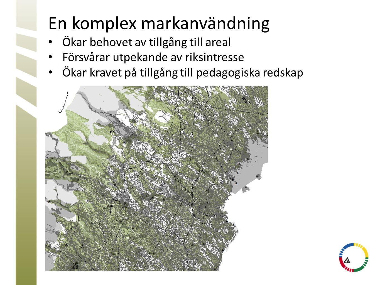 En komplex markanvändning • Ökar behovet av tillgång till areal • Försvårar utpekande av riksintresse • Ökar kravet på tillgång till pedagogiska redsk