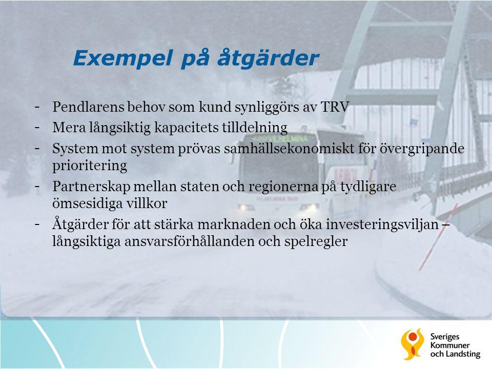 Exempel på åtgärder - Pendlarens behov som kund synliggörs av TRV - Mera långsiktig kapacitets tilldelning - System mot system prövas samhällsekonomis