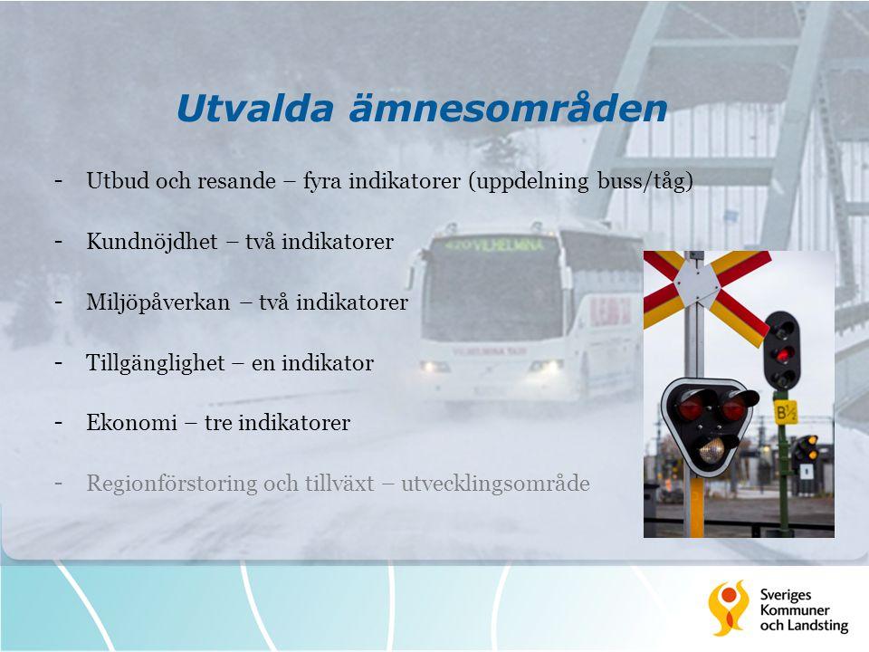 Utvalda ämnesområden - Utbud och resande – fyra indikatorer (uppdelning buss/tåg) - Kundnöjdhet – två indikatorer - Miljöpåverkan – två indikatorer -