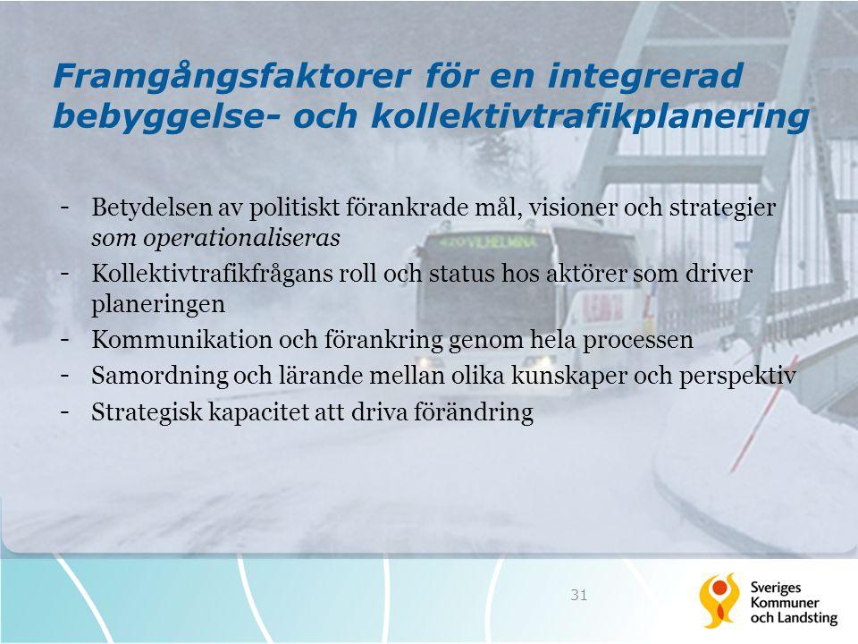 Framgångsfaktorer för en integrerad bebyggelse- och kollektivtrafikplanering - Betydelsen av politiskt förankrade mål, visioner och strategier som ope