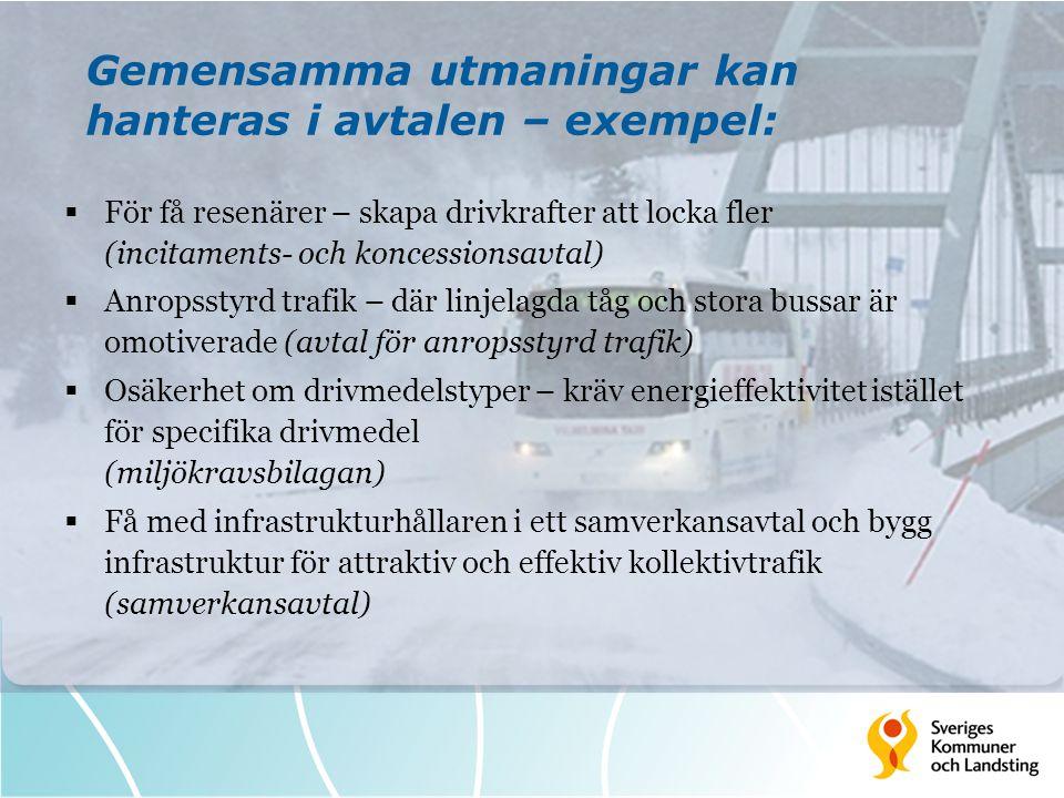 Gemensamma utmaningar kan hanteras i avtalen – exempel:  För få resenärer – skapa drivkrafter att locka fler (incitaments- och koncessionsavtal)  An