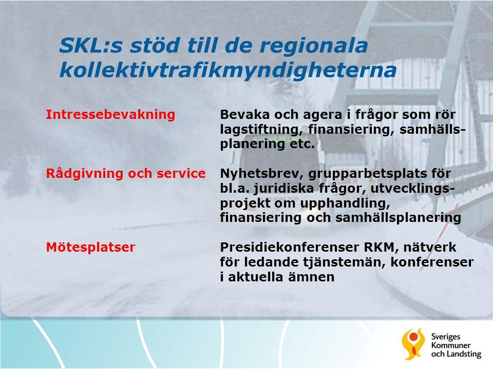 SKL:s stöd till de regionala kollektivtrafikmyndigheterna IntressebevakningBevaka och agera i frågor som rör lagstiftning, finansiering, samhälls- pla