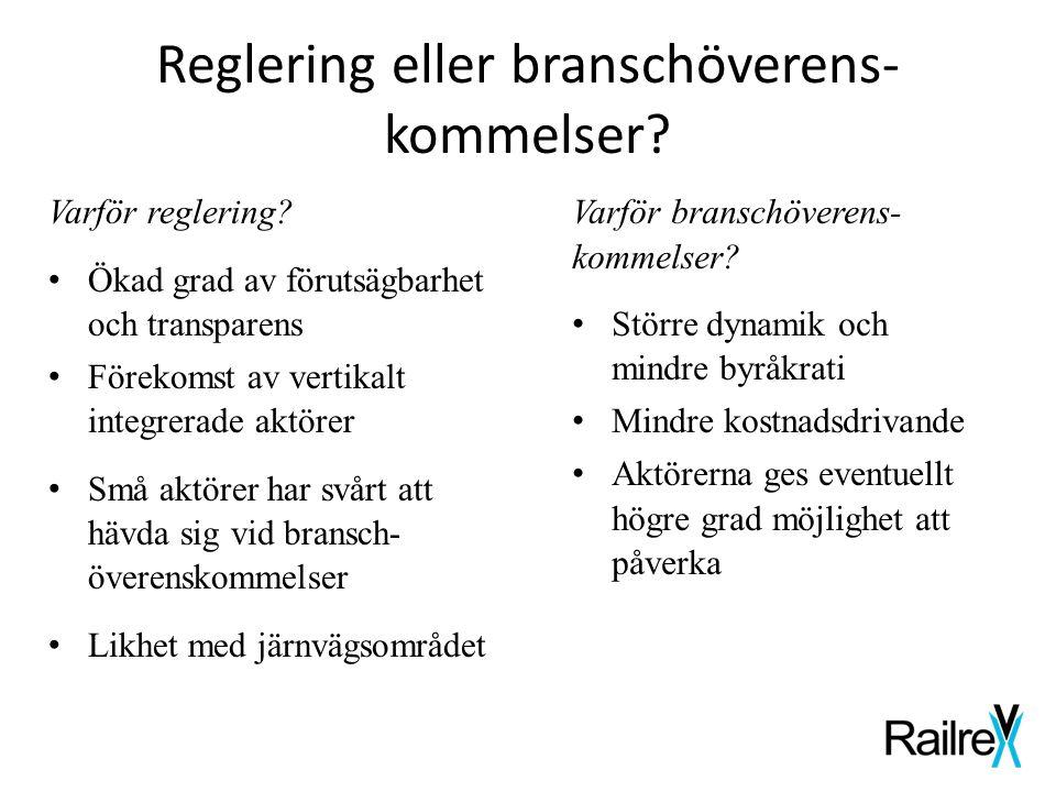 Reglering eller branschöverens- kommelser? Varför reglering? • Ökad grad av förutsägbarhet och transparens • Förekomst av vertikalt integrerade aktöre