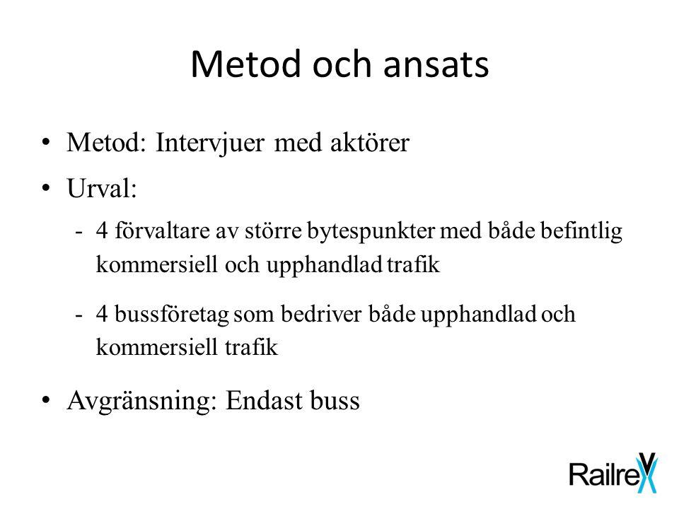 Metod och ansats • Metod: Intervjuer med aktörer • Urval: -4 förvaltare av större bytespunkter med både befintlig kommersiell och upphandlad trafik -4