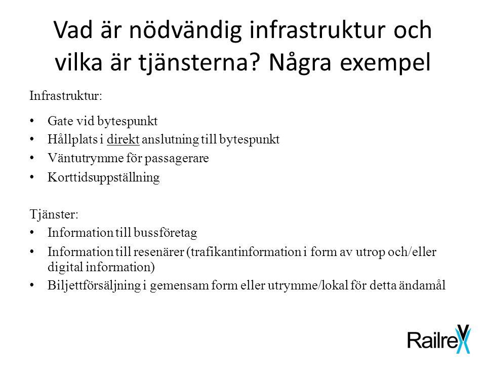 Vad är nödvändig infrastruktur och vilka är tjänsterna? Några exempel Infrastruktur: • Gate vid bytespunkt • Hållplats i direkt anslutning till bytesp