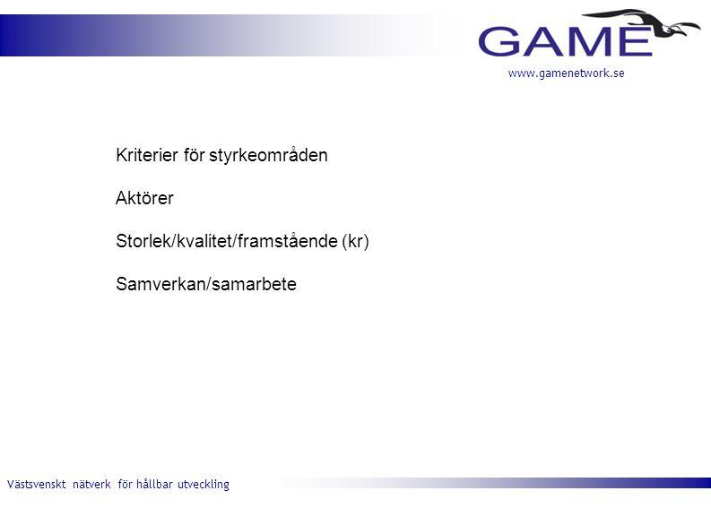 Västsvenskt nätverk för hållbar utveckling www.gamenetwork.se Kriterier för styrkeområden Aktörer Storlek/kvalitet/framstående (kr) Samverkan/samarbete