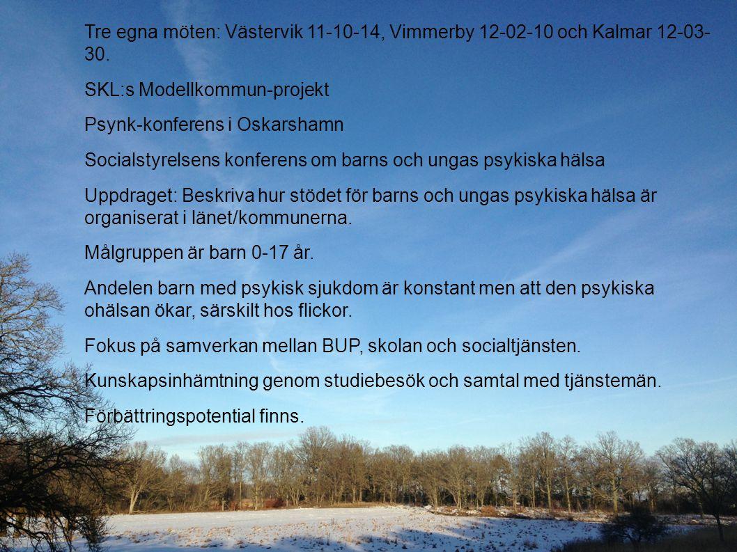 Tre egna möten: Västervik 11-10-14, Vimmerby 12-02-10 och Kalmar 12-03- 30. SKL:s Modellkommun-projekt Psynk-konferens i Oskarshamn Socialstyrelsens k