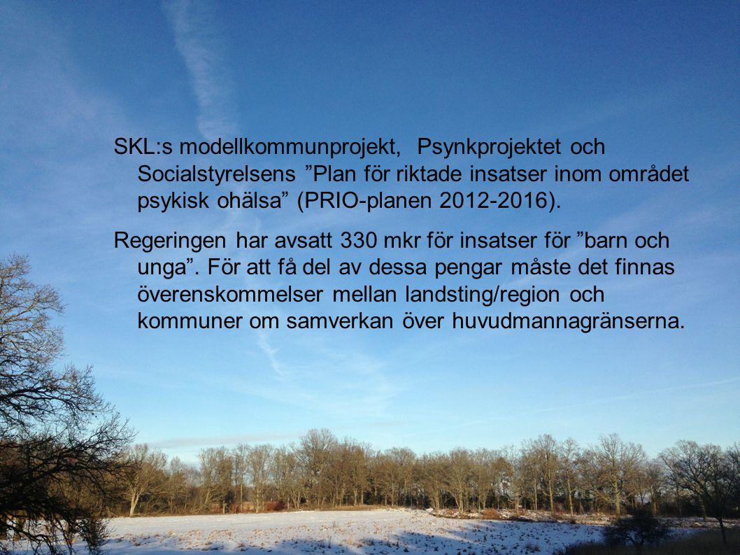 """SKL:s modellkommunprojekt, Psynkprojektet och Socialstyrelsens """"Plan för riktade insatser inom området psykisk ohälsa"""" (PRIO-planen 2012-2016). Regeri"""