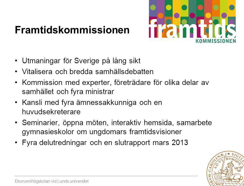 Ekonomihögskolan vid Lunds universitet Utmaningar på fyra områden •Sveriges demografiska utveckling •Integration, jämställdhet, demokrati och delaktighet •Hållbar tillväxt i globaliseringens tid •Sammanhållning och rättvisa
