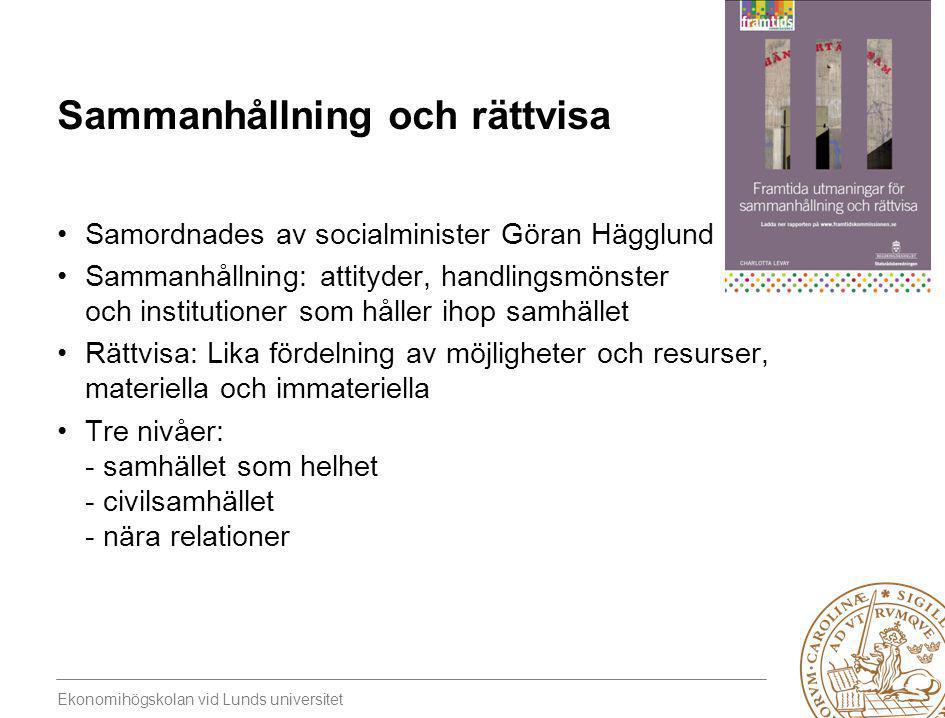 Ekonomihögskolan vid Lunds universitet Sammanhållning och rättvisa •Samordnades av socialminister Göran Hägglund •Sammanhållning: attityder, handlings