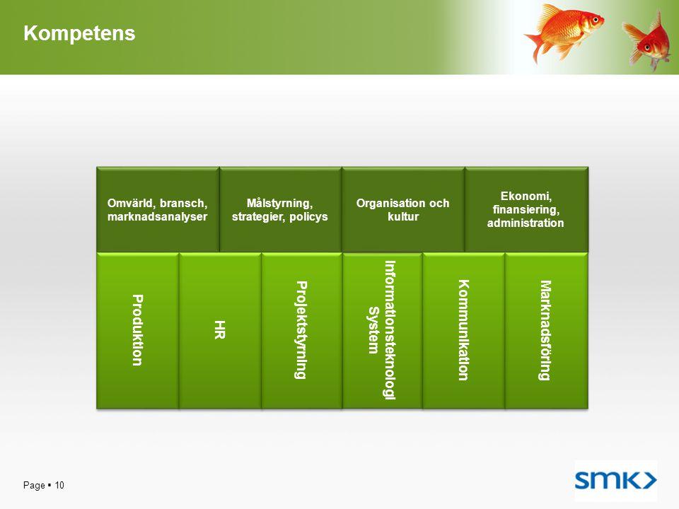 Kompetens Page  10 Informationsteknologi System Informationsteknologi System Målstyrning, strategier, policys Omvärld, bransch, marknadsanalyser Orga