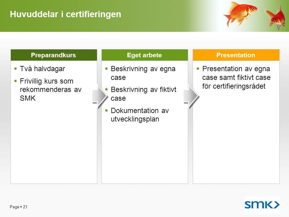 Page  21 Huvuddelar i certifieringen  Två halvdagar  Frivillig kurs som rekommenderas av SMK Preparandkurs  Beskrivning av egna case  Beskrivning