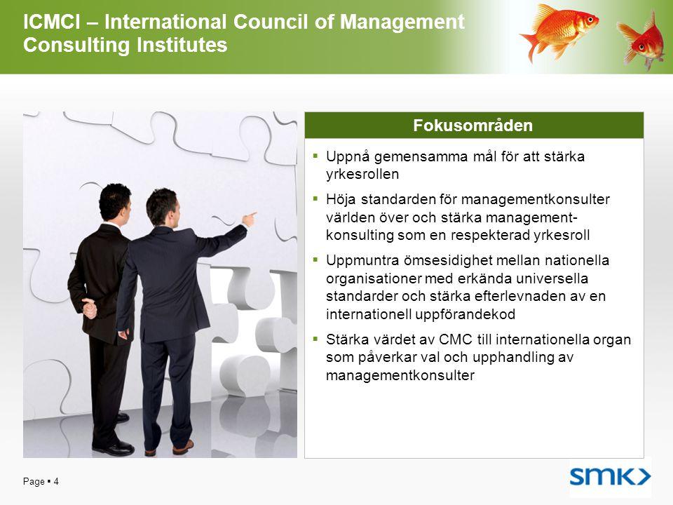 Page  4 ICMCI – International Council of Management Consulting Institutes Fokusområden  Uppnå gemensamma mål för att stärka yrkesrollen  Höja stand