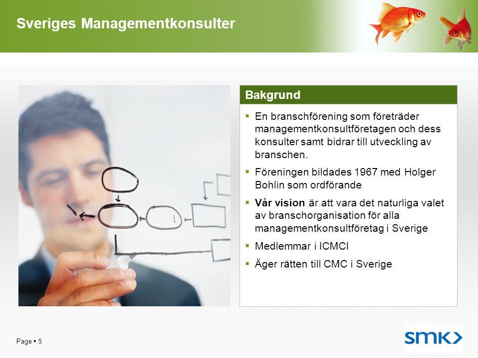 Page  5 Sveriges Managementkonsulter Bakgrund  En branschförening som företräder managementkonsultföretagen och dess konsulter samt bidrar till utve